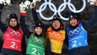 Lisa Vittozzi, Dorothea Wierer, Lukas Hofer e Dominik Windisch. LaPresse