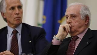 Il commissario della straordinario della Figc Fabbrini con Giovanni Malagò.