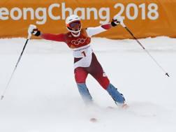 La gioia di Michelle Gisin al termine dello slalom della combinata. Ap