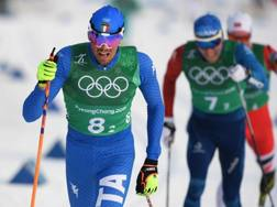 Francesco De Fabiani, 24 anni, ha chiuso ventesimo la skiathlon e settimo la staffetta 4x10 km. Afp