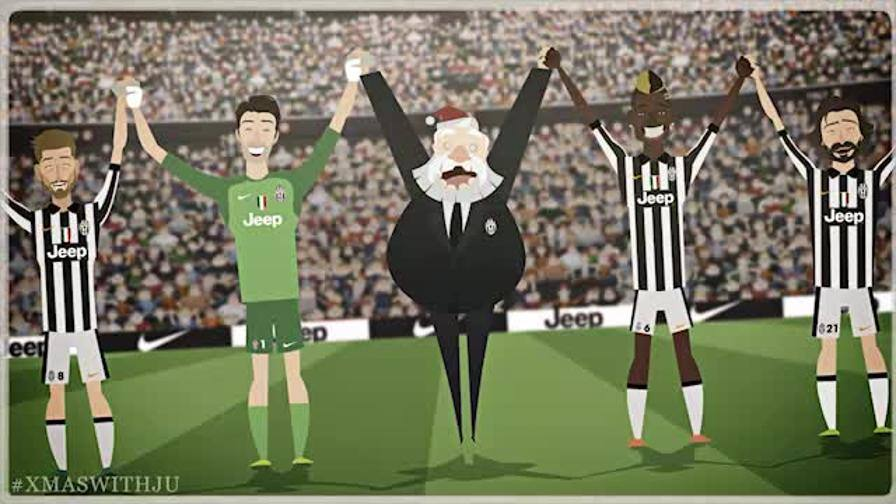 Juve cartoon ma babbo natale è bianconero video