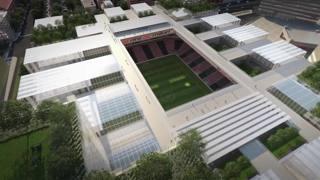 La visione dall'alto dello stadio del Milan, al Portello.
