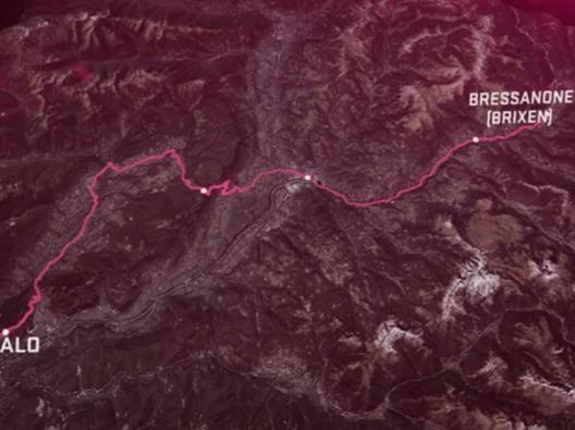 Il percorso della 16esima tappa, Bressanone-Andalo, 132 km