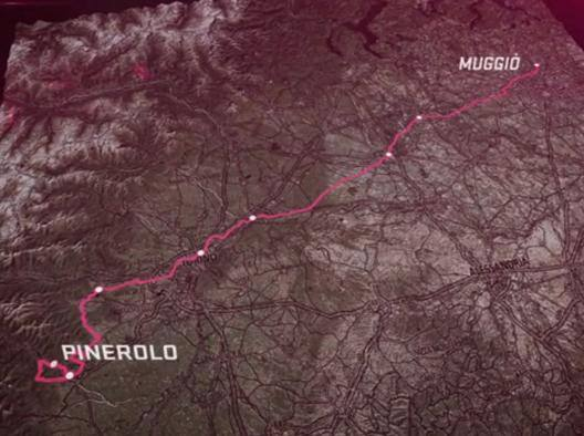 Giro d'Italia, il percorso della 18esima tappa, Muggi�-Pinerolo