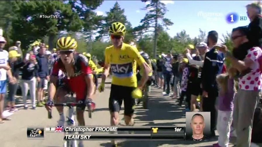 Guarda la corsa di Froome<br>Abbandona la bici, poi...