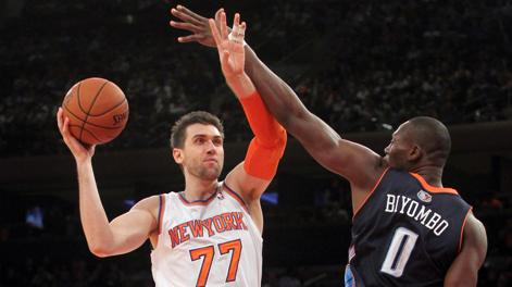 Andrea Bargnani, 28 anni, prima stagione a New York. Usa Today Sports