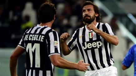 Juventus-Catania 4-0. Poker di gol: Vidal, Pirlo, Tevez e Bonucci