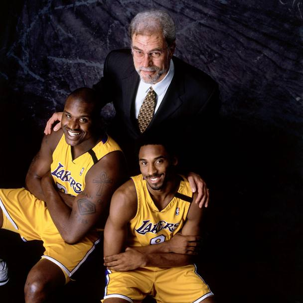 2000: Phil Jackson con Shaquille O'Neal e Kobe Bryant