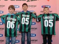 Giovanissimi tifosi del Sassuolo con la maglia personalizzata. Bozzani