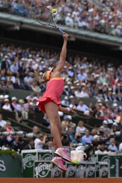 Eugenie Bouchard alla battuta. Afp