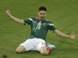 La gioia di Peralta dopo il gol partita. Ap