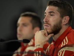 Il difensore della Spagna e del Real Madrid Sergio Ramos. Epa
