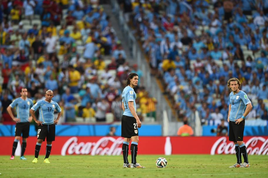 La delusione di Cavani e Forlan. Getty Images