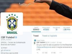 Il profilo Twitter della federazione calcistica brasiliana: più di 1,5 milioni di followers