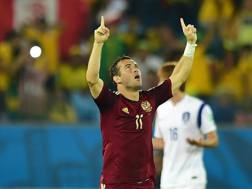 Alexander Kerzhakov , autore del gol del pari russo. Afp