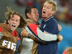 L'esultanza  di Klinsmann dopo la vittoria sul Ghana. Epa