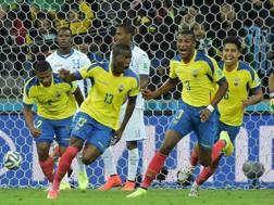 Enner Valencia esulta dopo la doppietta all'Honduras. Afp