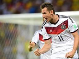 Miroslav Klose, 15 gol nella storia dei Mondiali. Afp