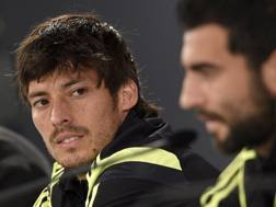 David Silva in conferenza stampa. Afp