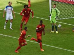 Origi esulta dopo il gol decisivo alla Russia. Afp