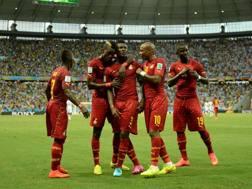 Festa Ghana dopo il provvisorio 2-1 sulla Germania. Afp
