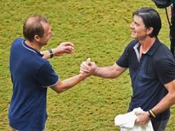 Jürgen Klinsmann e Joachim Löw fanno festa insieme a fine gara. Getty