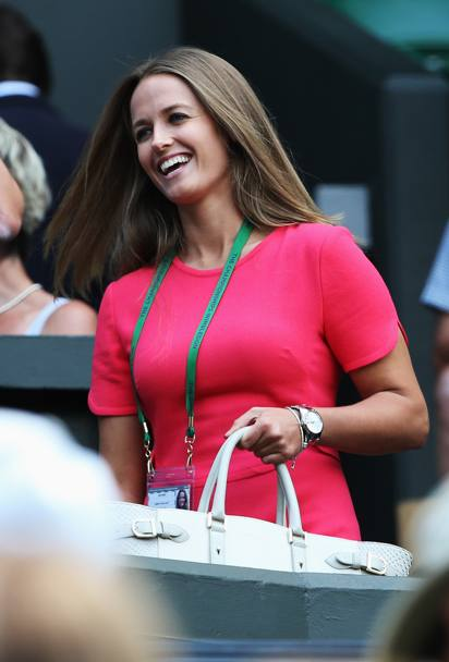 Kim Sears, fidanzata di Andy Murray, si accomoda per assistere al match dello scozzese con Dimitrov