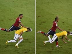 La ginocchiata di Zuniga su Neymar in Brasile-Colombia. Reuters