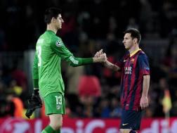 Messi e Courtois nei quarti di Champions. Afp