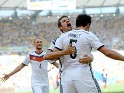 L'esultanza tedesca, la Germania è in semifinale. Epa