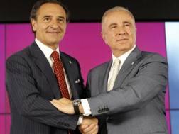 Cesare Prandelli e il presidente del Galatasaray Unal Aysal. Ansa