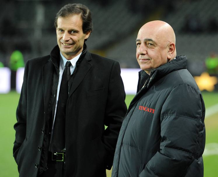 Massimiliano Allegri con Adriano Galliani (Epa)