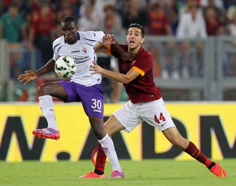 Manolas in pressione su Babacar. Getty Images