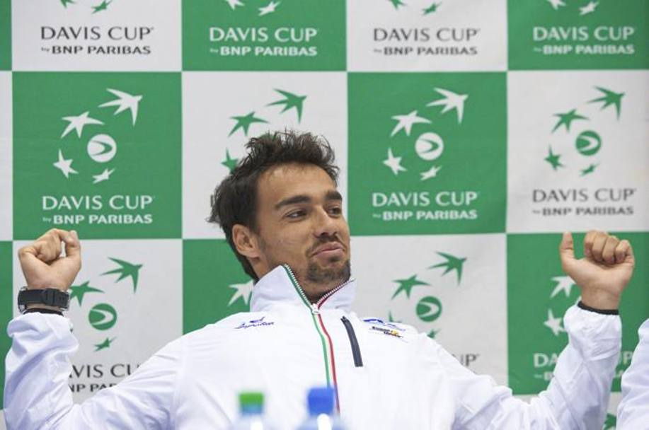 Fognini in conferenza stampa a Ginevra. Reuters
