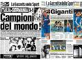 Le due prime pagine della Gazzetta a confronto