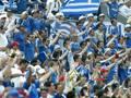 Tifosi greci al seguito della nazionale. Epa