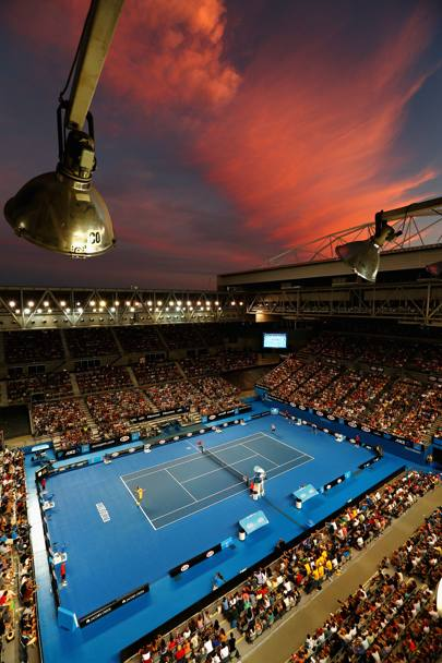 Spettacolare cielo rosso sul Melbourne Park (Getty Images)