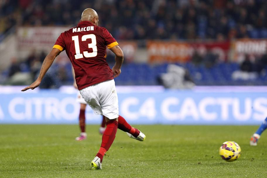 Il sinistro vincente di Maicon. Action Images