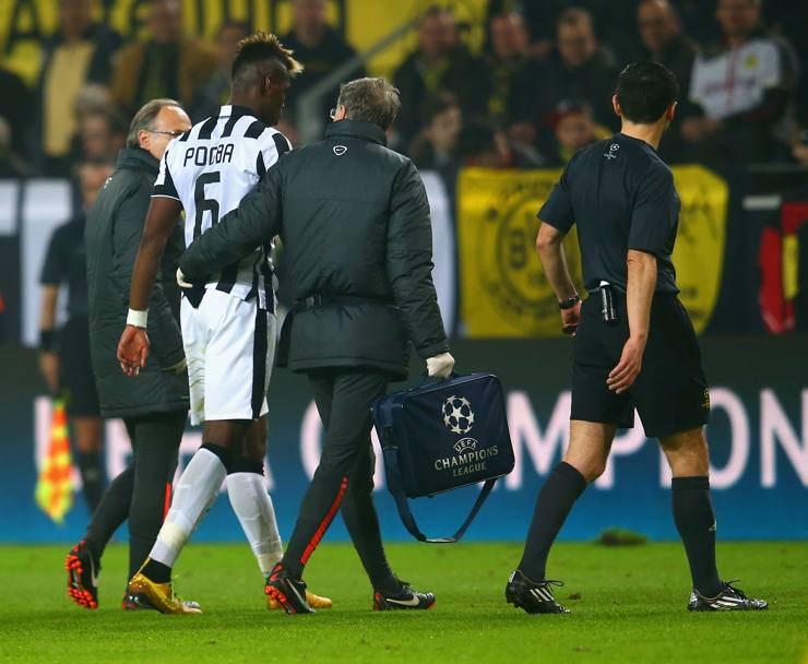 Pogba esce al 27': infortunio muscolare. Getty