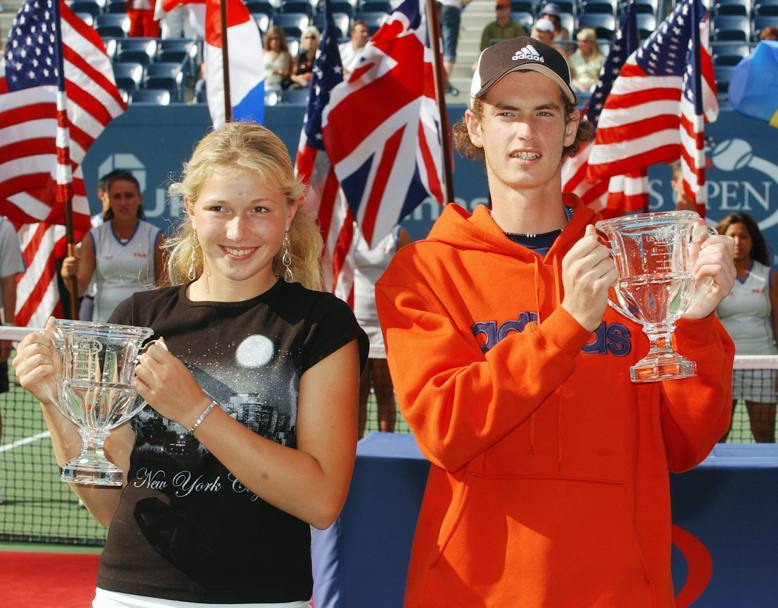 US Open 2004: i vincitori della finale Juniores Andy Murray e Michaella Krajicek (Ap)
