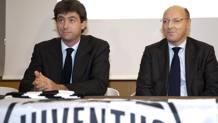 Il presidente della Juventus, Andrea Agnelli, con l'a.d. Beppe Marotta. LaPresse