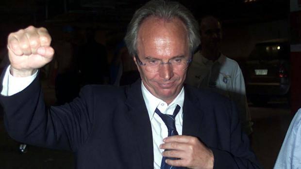 Roma, 14 maggio. Sven-Göran Eriksson, allenatore della Lazio, esulta dopo la conquista dello scudetto. Lapresse