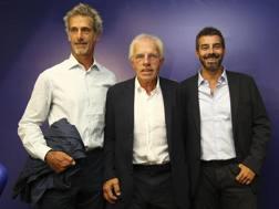 Guido Barilla, a sinistra, con Nevio Scala e Mario Ferrari, vicepresidente del nuovo Parma. Getty Images