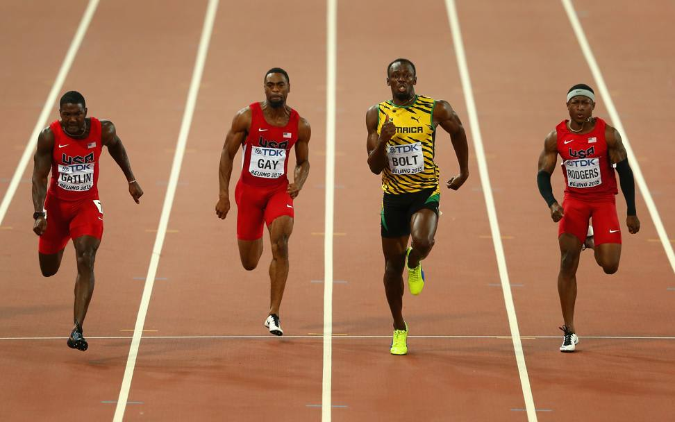 Nell'ordine da sinistra: Justin Gatlin, Usa; Tyson Gay, Usa; Usain Bolt, Giamaica; Mike Rodgers, Usa (Getty Images)