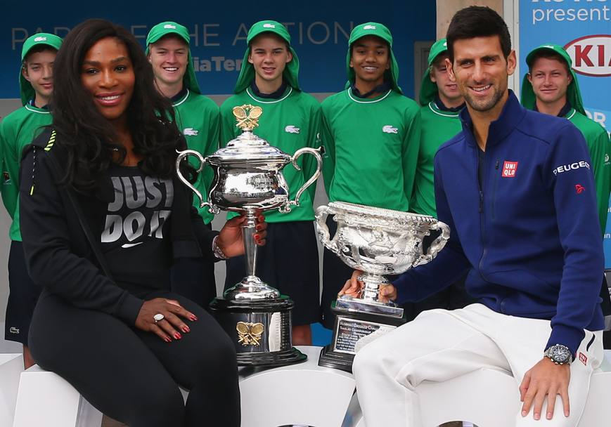 Australian Open 2016. I 2 vincitori dell' edizione precedente, Serena Williams e Novak Djokovic, Melbourne. Australia. (GETTY IMAGES)