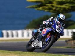 Sylvain Guintoli in azione con la Yamaha