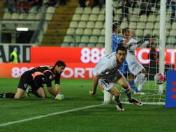 Kevin Lasagna, 23 anni, dopo il gol all'Empoli. LaPresse