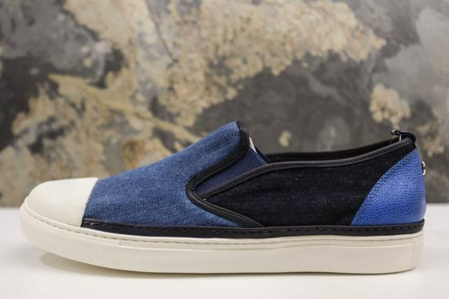 BRIMARTS SLIP ON in pelle con inserti denim