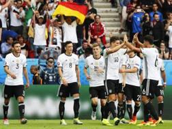 La festa dei giocatori tedeschi. Epa