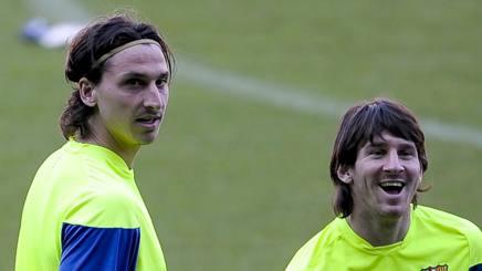 Ibra e Messi ai tempi del Barcellona. Afp